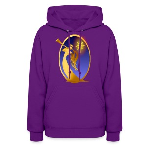 Gold Christmas Angel Oval - Women's Hoodie