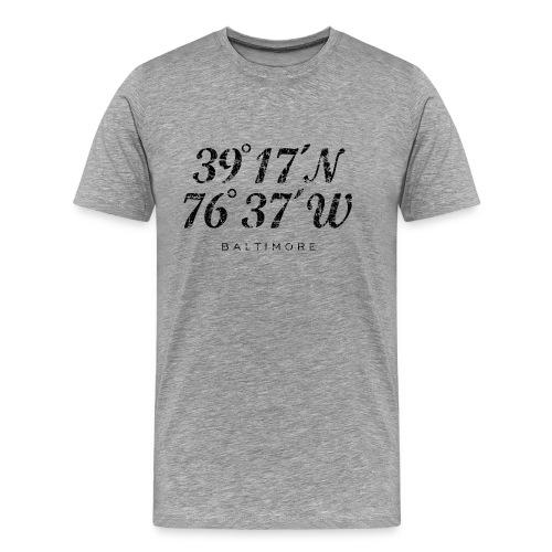 Baltimore Coordinates T-Shirt (Men/Gray) - Men's Premium T-Shirt