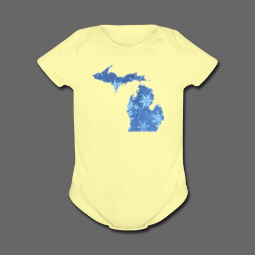 Michigan Snowflake - Short Sleeve Baby Bodysuit
