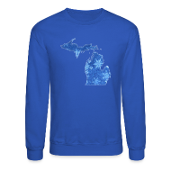 Long Sleeve Shirts ~ Crewneck Sweatshirt ~ Michigan Snowflake