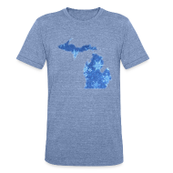 T-Shirts ~ Unisex Tri-Blend T-Shirt ~ Michigan Snowflake
