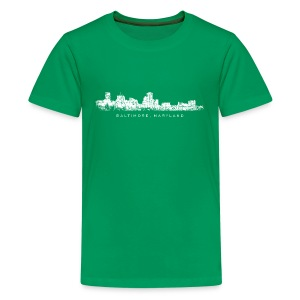 Baltimore, Maryland Skyline T-Shirt (Children Green) - Kids' Premium T-Shirt