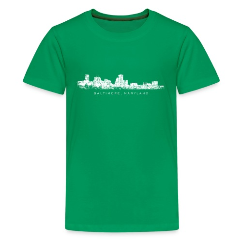 Baltimore, Maryland City Skyline Vintage White