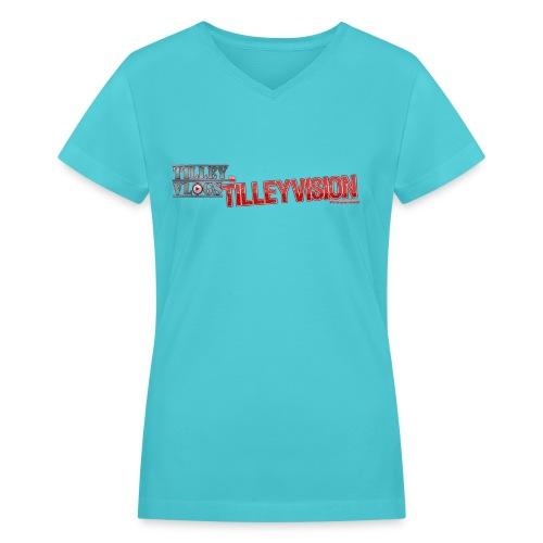 Women's Light Blue Official TilleyVlogs Shirt - Women's V-Neck T-Shirt