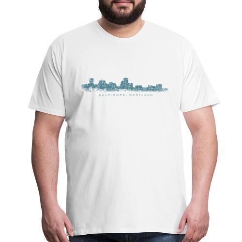 Baltimore, Maryland Skyline T-Shirt (Men/White) - Men's Premium T-Shirt