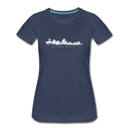 Baltimore, Maryland Skyline T-Shirt (Women/Navy) - Women's Premium T-Shirt