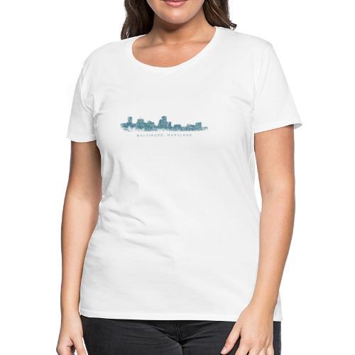 Baltimore, Maryland Skyline T-Shirt (Women/White) - Women's Premium T-Shirt
