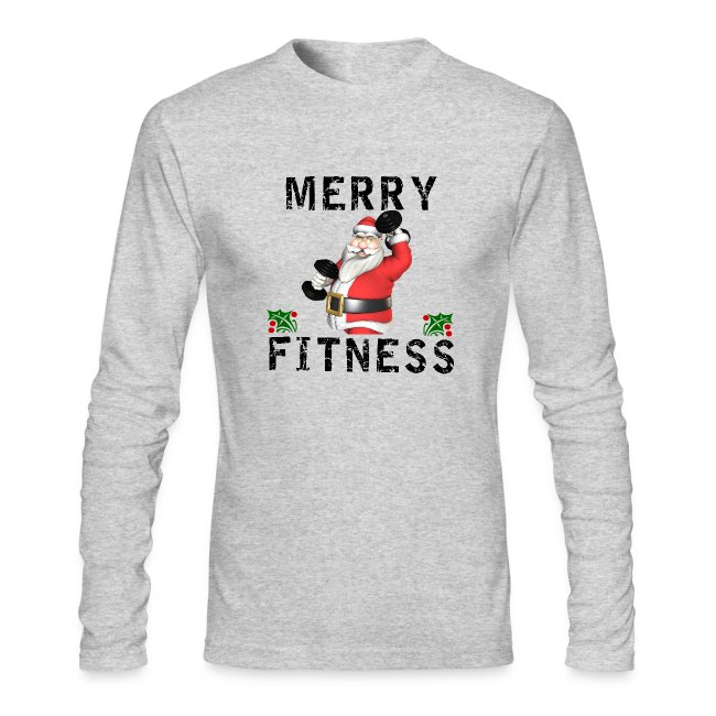 Xg Designs Nyc Merry Fitness Santa Mens Fitted Ls T Shirt Mens