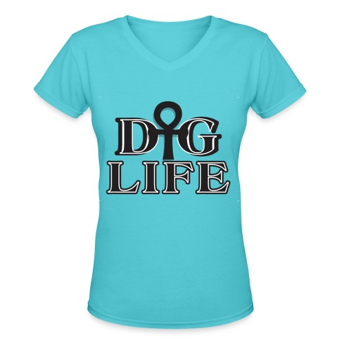 DIGLIFE Ahnk Collection - Signatrure - Women's V-Neck T-Shirt
