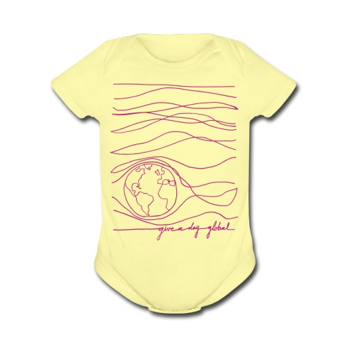 Interconnected lines - pink on yellow - Organic Short Sleeve Baby Bodysuit