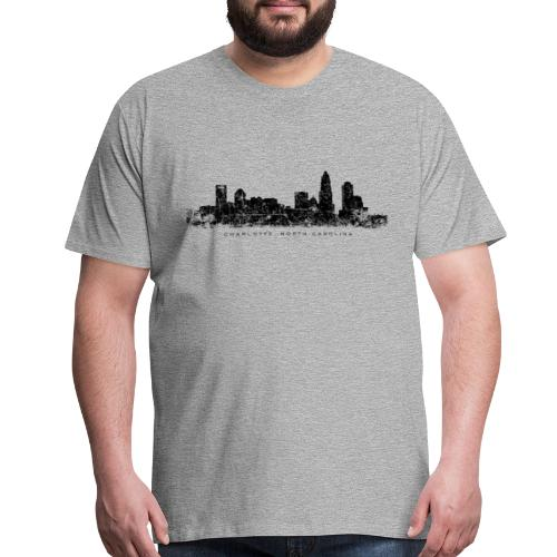 Charlotte, North Carolina Skyline T-Shirt (Men/Gray) - Men's Premium T-Shirt