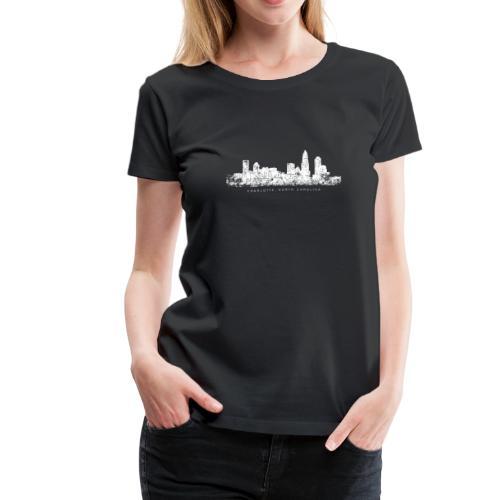 Charlotte, North Carolina Skyline T-Shirt (Women/Black) - Women's Premium T-Shirt