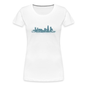 Charlotte, North Carolina Skyline T-Shirt (Women/White) - Women's Premium T-Shirt