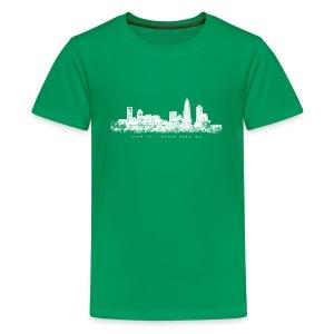 Charlotte, North Carolina Skyline T-Shirt (Children/Green) - Kids' Premium T-Shirt