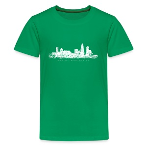 Charlotte, North Carolina Skyline T-Shirt (Children/Green) - Kids' Premium T-Shirt