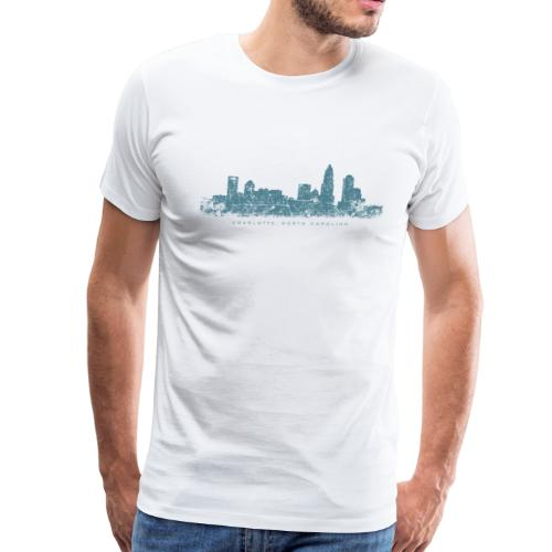 Charlotte, North Carolina Skyline Vintage Blue