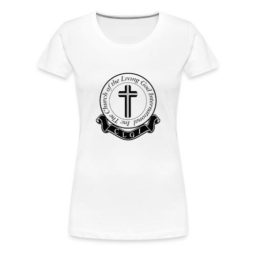 Black on White CLGI Logo Tee for Her - Women's Premium T-Shirt