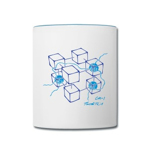 CM-1 Logo mug white/blue - Contrast Coffee Mug