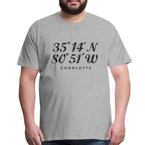Charlotte, North Carolina Coordinates T-Shirt (Men/Gray) - Men's Premium T-Shirt