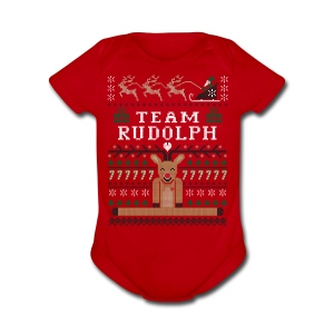 Rudolph Ugly Christmas Sweater - Short Sleeve Baby Bodysuit