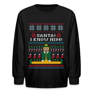 Elf Ugly Christmas Sweater - Kids' Long Sleeve T-Shirt