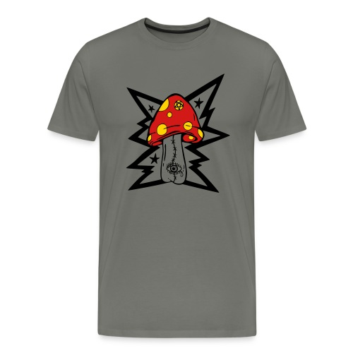 Psychedelic Mushroom - Gray Tee - Men's Premium T-Shirt
