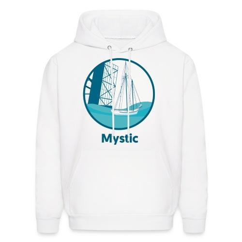 Mystic CT Drawbridge Men's Long Sleeve Tee Shirt Blue Lettering - Men's Hoodie