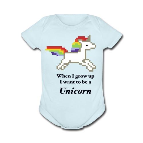 Unicorn When I grow up Baby Bodysuit - Organic Short Sleeve Baby Bodysuit