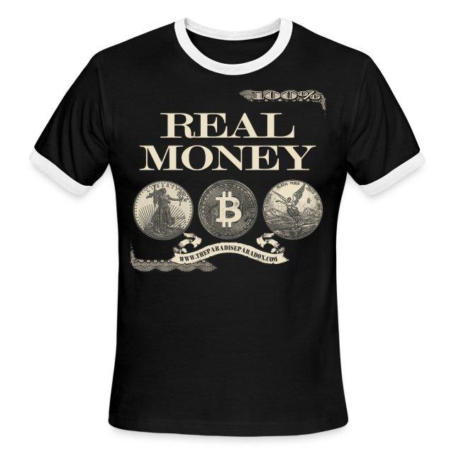 Real Money men's ringer tee half border