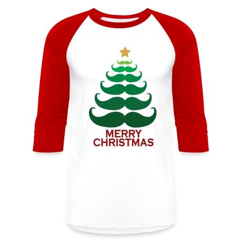 Merry Christmas Mustache Baseball  - Baseball T-Shirt