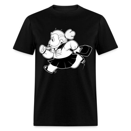 School Girl Stev (Black & White)  - Men's T-Shirt