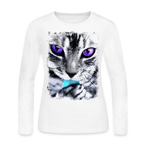 Purple eyes Cat - Women's Long Sleeve Jersey T-Shirt