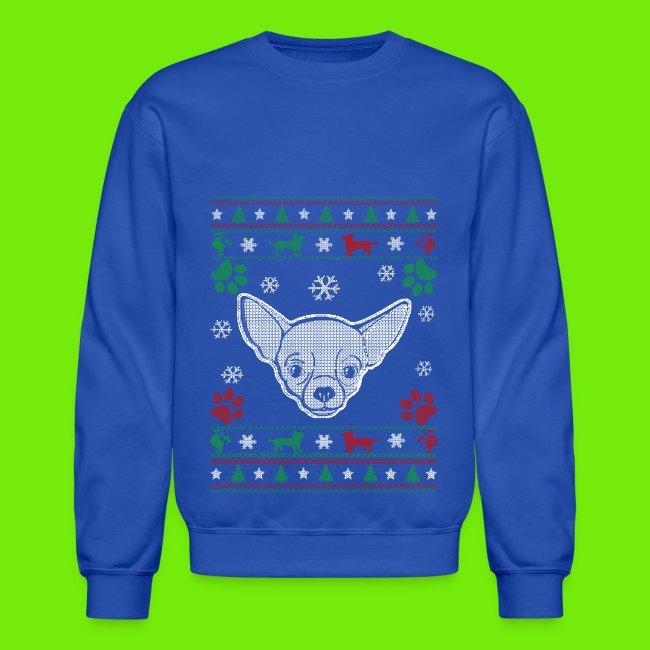 chihuahua ugly christmas sweater mens blue sweatshirt
