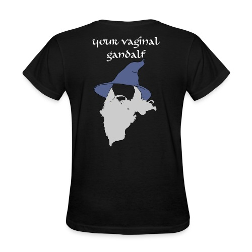 Relaxed Fit Vaginal Gandalf Graphic- Black - Women's T-Shirt