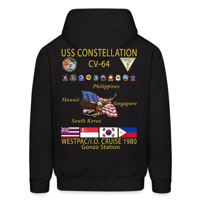 USS CONSTELLATION CV-64 WESTPAC/I.O. CRUISE 1980 CRUISE HOODIE - GONZO STATION GRAPHIC