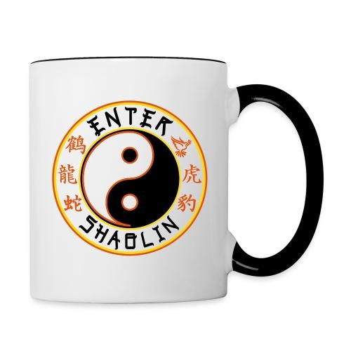 Enter Shaolin White & Black Coffee Mug or Tea Cup (Both Logos) - Contrast Coffee Mug