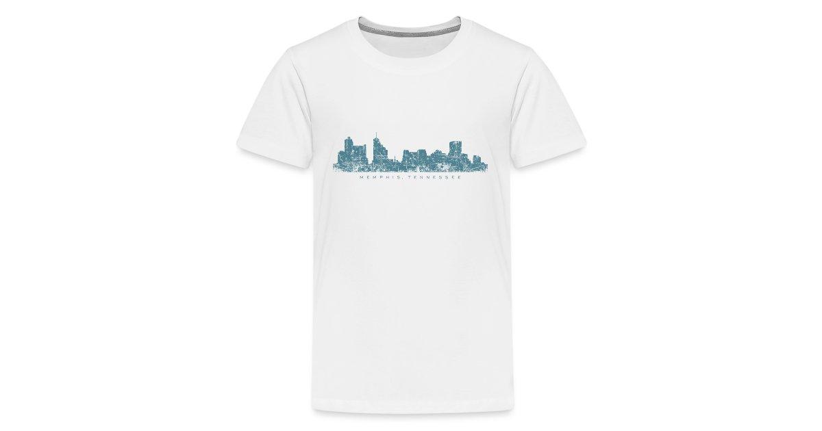 e16b9921 The Memphis Tennessee T-Shirt Shop - Shirts Tops Hoodies and Gifts    Memphis Tennessee Skyline T-Shirt (ChildrenWhite) - Kids Premium T-Shirt