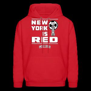 NY is RED - Men's Hoodie, Red - Men's Hoodie