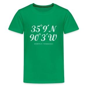 Memphis, Tennessee Coordinates T-Shirt (Kids/Green) - Kids' Premium T-Shirt