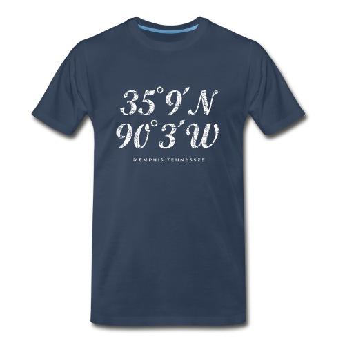 Memphis, Tennessee Coordinates T-Shirt (Men/Navy) - Men's Premium T-Shirt