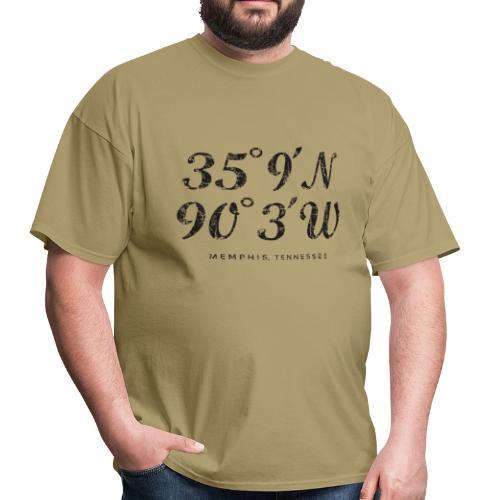 Memphis, Tennessee Coordinates T-Shirt (Men/Khaki) - Men's T-Shirt