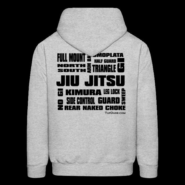 Men's Jiu Jitsu Terminology Hoodie NEW bw TD Back Print