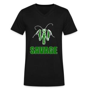 Savage Praying Mantis - Men's V-Neck T-Shirt by Canvas