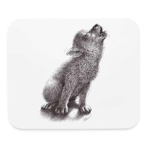 Funny Howling Wolf - Mouse pad Horizontal