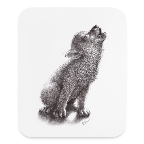 Funny Howling Wolf - Mouse pad Vertical