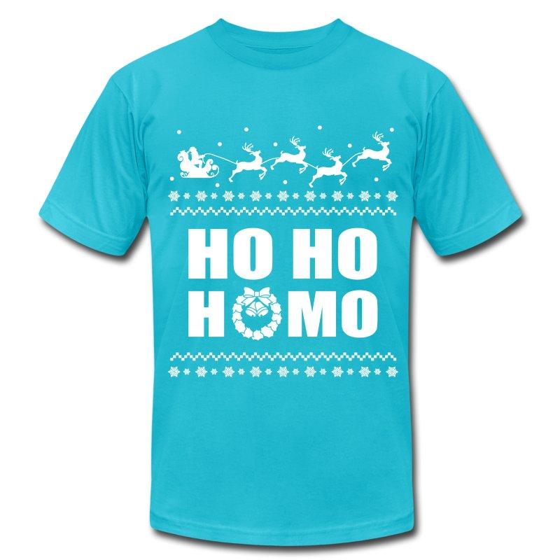 Ho ho homo christmas lgbt ugly sweater t shirt spreadshirt for Tacky t shirt ideas