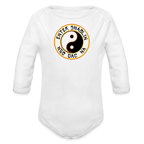 Enter Shaolin Baby Long Sleeve T-shirt Onsie in White (Front Logo) - Organic Long Sleeve Baby Bodysuit
