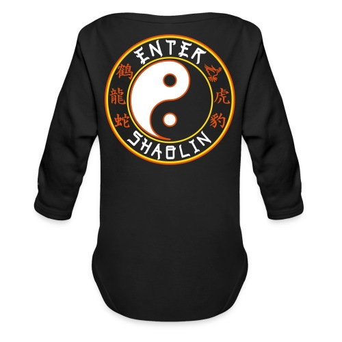 Enter Shaolin Baby Long Sleeve T-shirt Onsie in Black (Front Logo & Back Logo) - Organic Long Sleeve Baby Bodysuit
