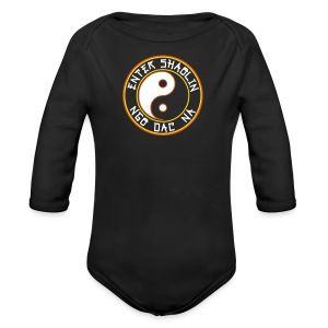 Enter Shaolin Baby Long Sleeve T-shirt Onsie in Black (Front Logo) - Long Sleeve Baby Bodysuit