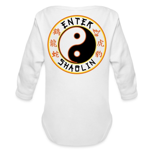 Enter Shaolin Baby Long Sleeve T-shirt Onsie in White (Front Logo & Back Logo) - Organic Long Sleeve Baby Bodysuit